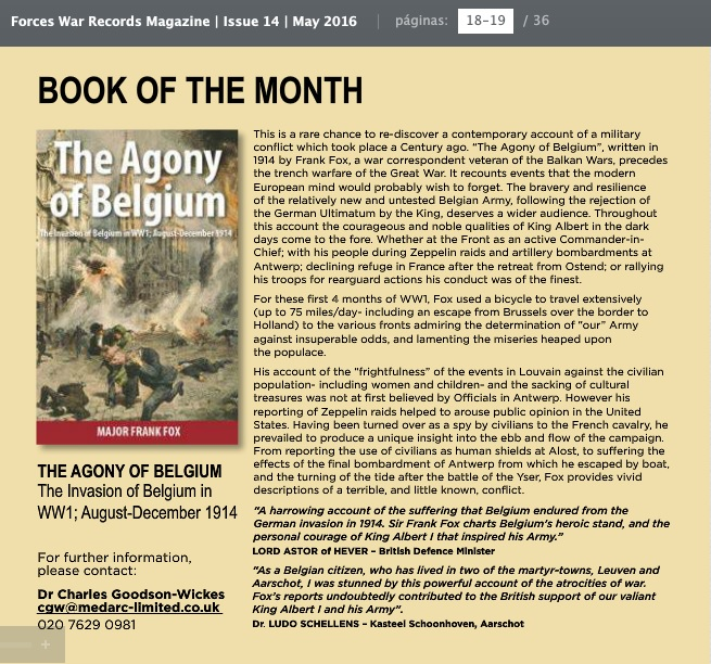 The Agony of Belgium - Forces War Records Book of The Month